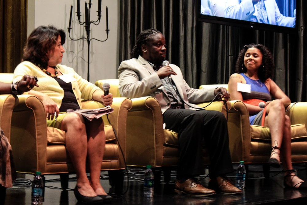 (from left) Panelists  Teresa Córdova ,  Board Member   Qadree Holmes , and Alum  Qurissy Lopez .