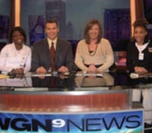 FSM students Bianca Bryant and Helen Block meet WGN Morning News anchors Larry Potash and Robin Baumgarten.