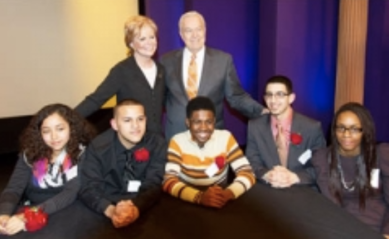 Carol Marin and Bill Kurtis with theyouth panel