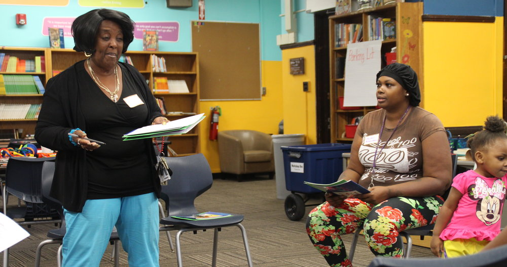 Penn Elementary grandmother Beverly Towner(left) delivers a line from a reading exercise