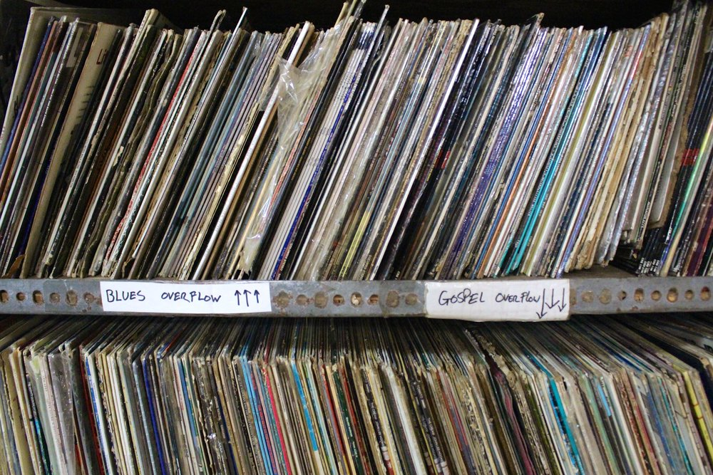 Out of the Past Records co-owner, Marie Henderson, boasts of her collection of blues and gospel records.