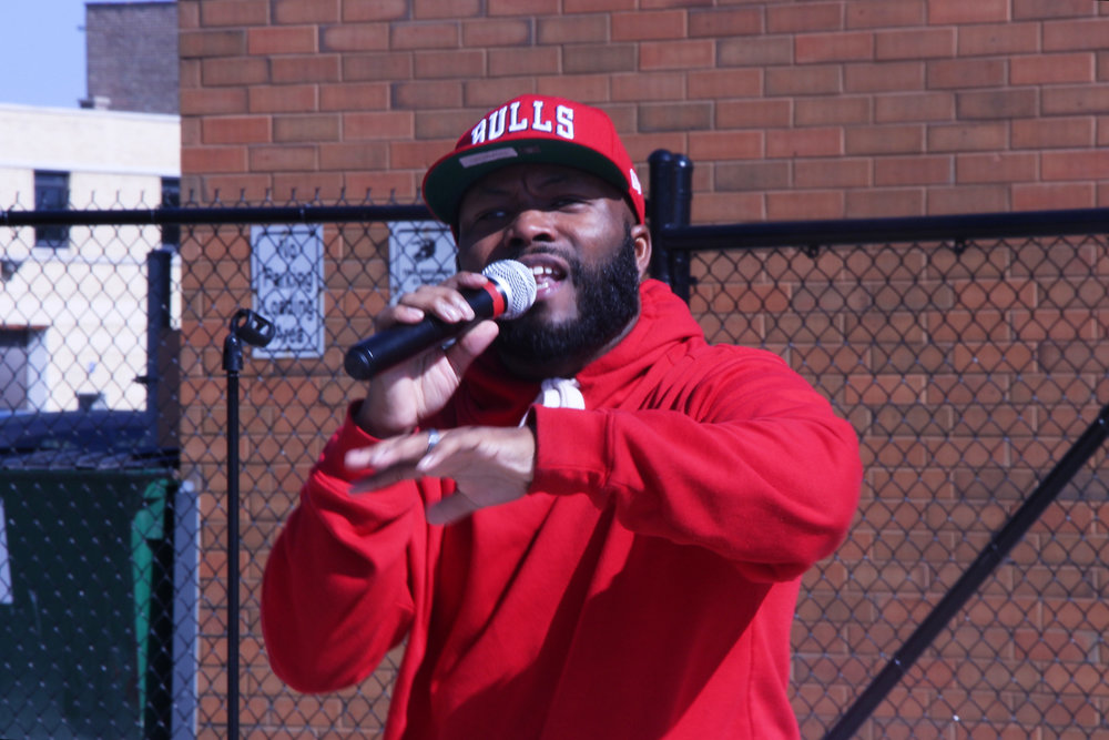 """THRE"" is a gospel rapper from the southside of Chicago. He is a member of one of the nearby churches in the Austin neighborhood."