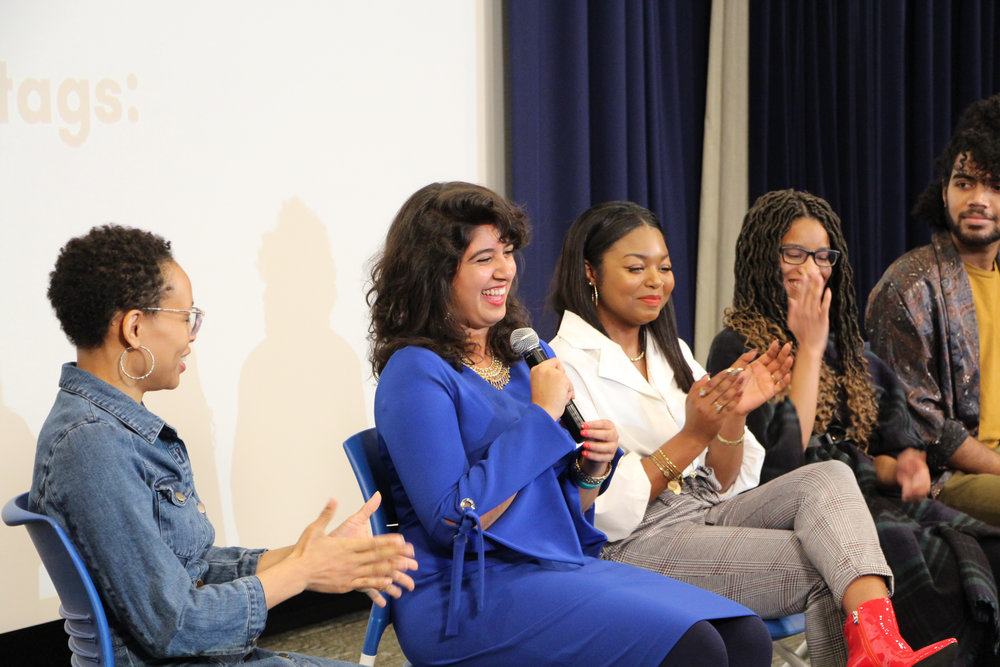 "- Chakka Reeves moderates ""Fuzzy Legs"" crew panel featuring Amber Eswani, Bianca Brown, Angellic Ross and Pascal Sabino."