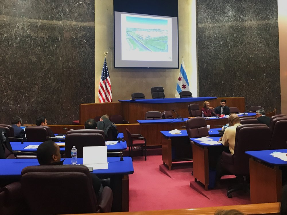View of the Chicago City Council Committee on Economic, Capital, and Technology Development's hearing on Hilco Redevelopment Partners . Photo by: Pascal Sabino