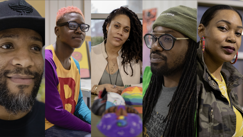 Left to right: Haman Cross III, Terreon Collins, Azadi Sol, Brandon Love and Alexie Young pose for portraits during Gallery Night at the Homan Square Community Center. Photo by Pat Nabong.
