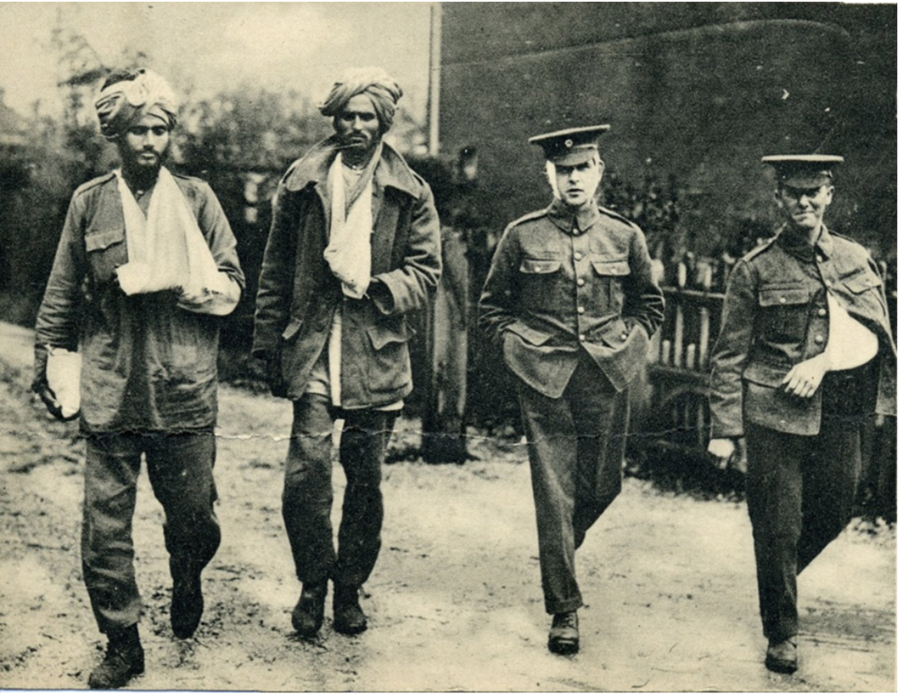 Sikh and British wounded recovering from injuries sustained in the front line to their left hand or arm, Southampton, c. November 1914. (UKPHA Archive)
