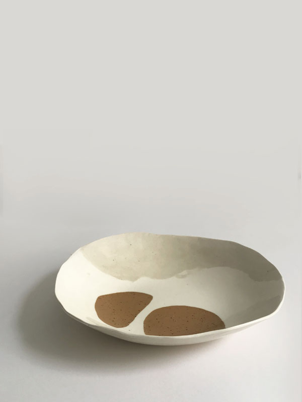 Mira Plate / $85 – SOLD White, recycled & speckled buff clay with clear glaze