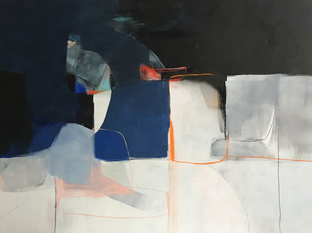 Petrol Club –  SOLD  Acrylic, pastel & graphite on canvas / 36 x 48""