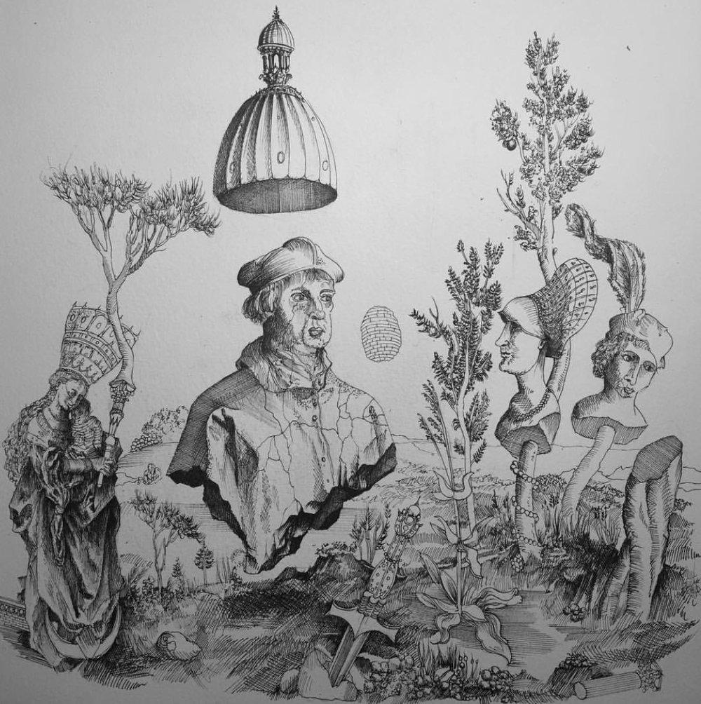 10. Le Rêve de Dürer , 30 x 30cm , Feutre Technique sur Papier.jpg