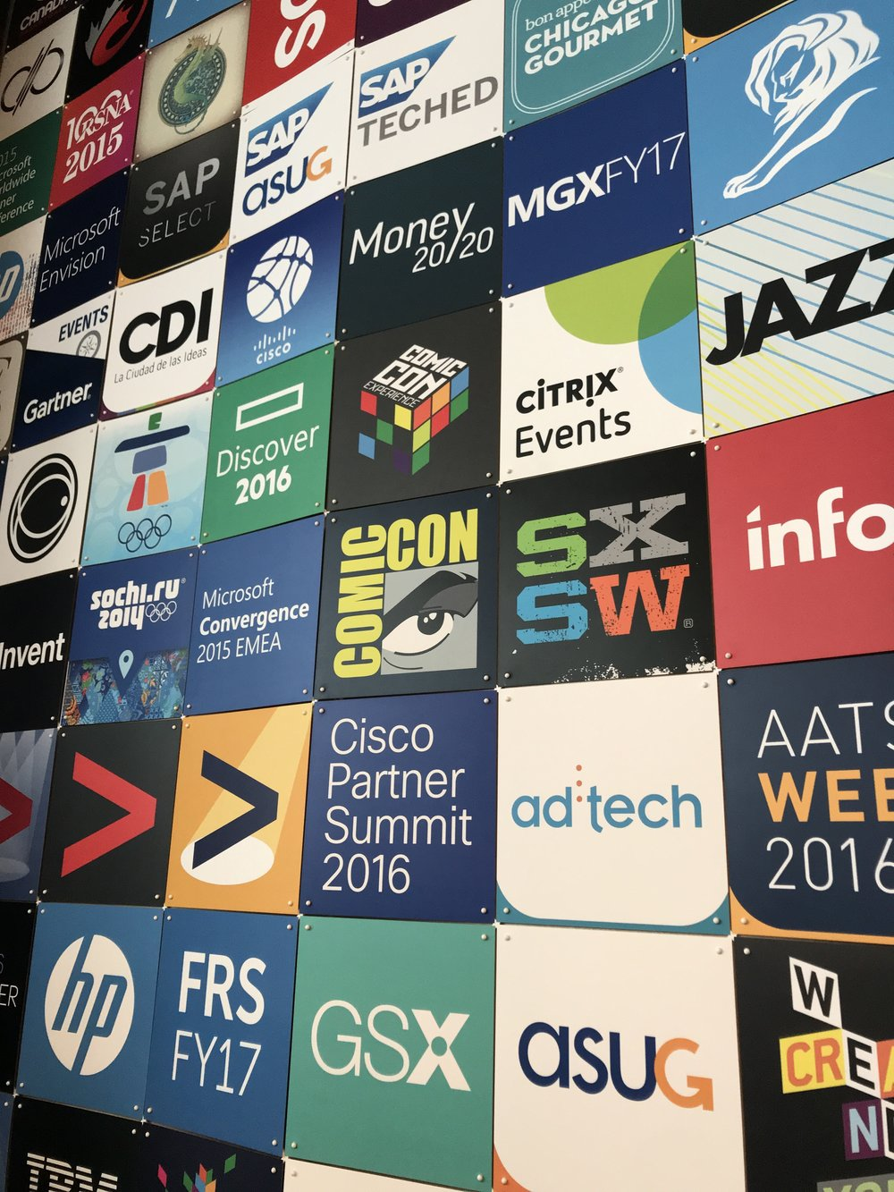 A collage of events and companies that Eventbase has worked with in the past. Events include the 2014 Winter Olympics, ComicCon, and SXSW, as well as companies such as Hewlett Packard and SAP.