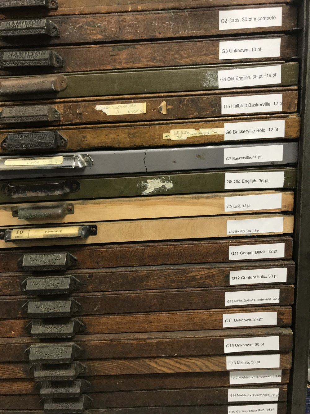 These typefaces are kept in these drawers and they are used for print collateral.