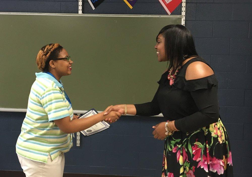 Scholarship Winner DesTiny Overton with Committee Chair