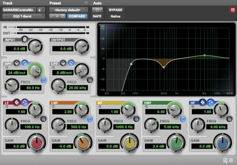 (EQ settings for protools control mix)
