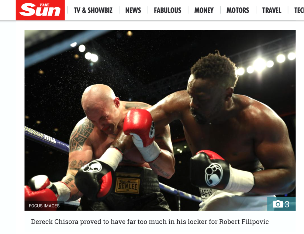 The Sun Online - Dereck Chisora v Robert FilipovicBattle of The Mersey - Matchroom Boxing Working for Focus Images Ltd