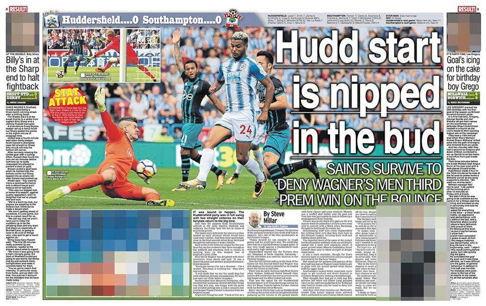 Daily Star Sunday - Huddersfield Town v SouthamptonEnglish Premier LeagueWorking for Focus Images Ltd