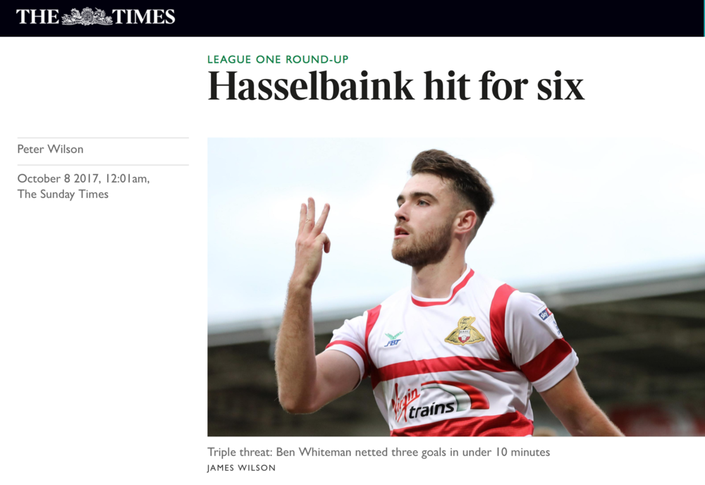 The Times Online - Doncaster Rovers v Southend UnitedEFL League OneWorking for Focus Images Ltd