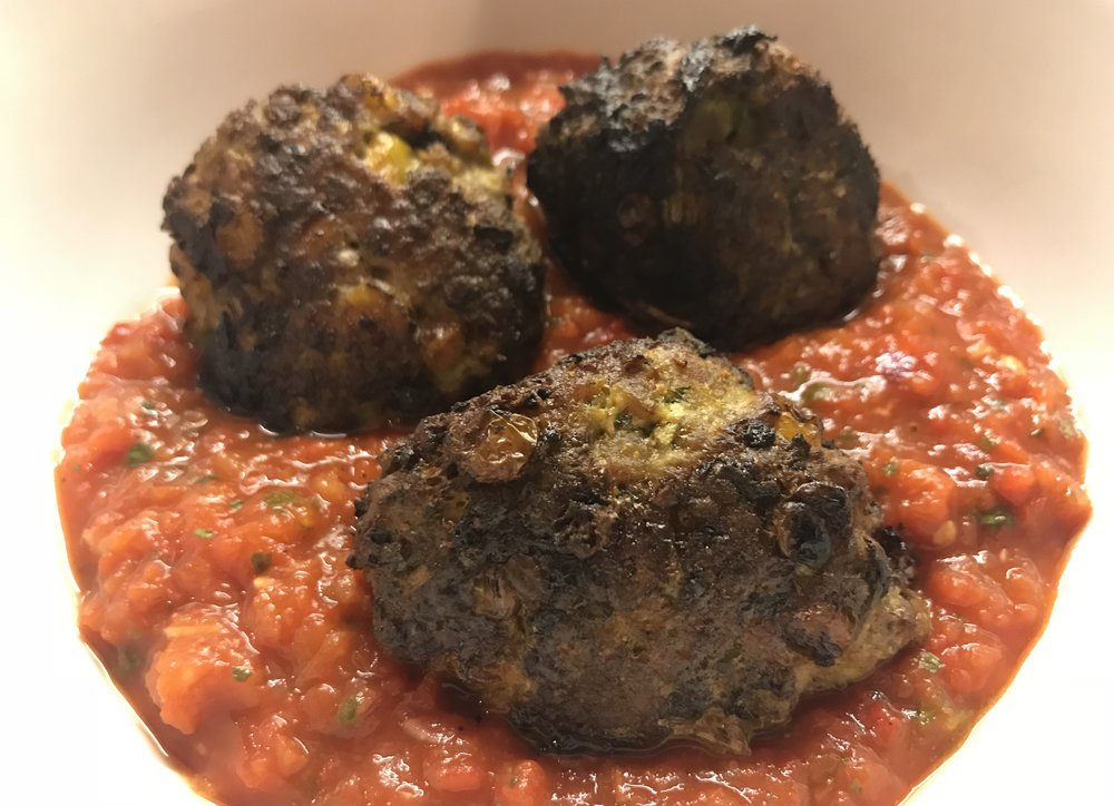 Ottolenghi's turkey sweetcorn meatballs , red pepper sauce