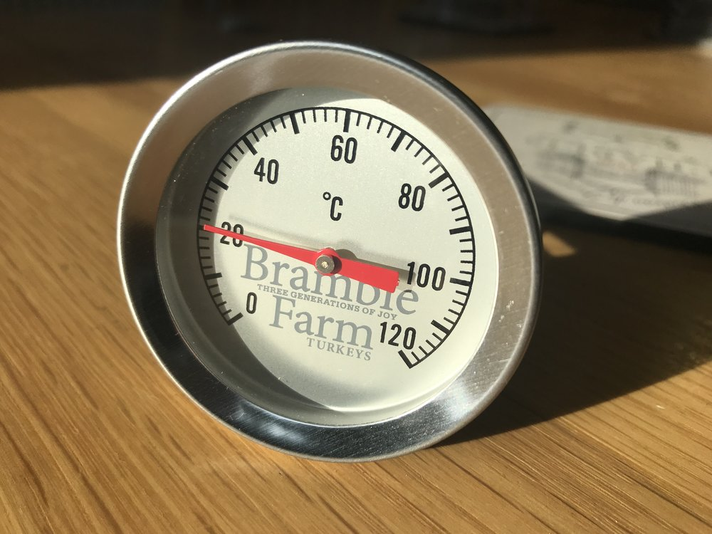 If you have a Bramble farm meat thermometer,  please do not leave the thermometer in the bird in the oven , please use the thermometer when you've taken the bird out of the oven. We check the temperature every 15 mins from half way.  When the coldest part is 65 °C it done . We always check the temperature in 3 or 4 places. take it out and leave it in the side to rest for 30 mins.