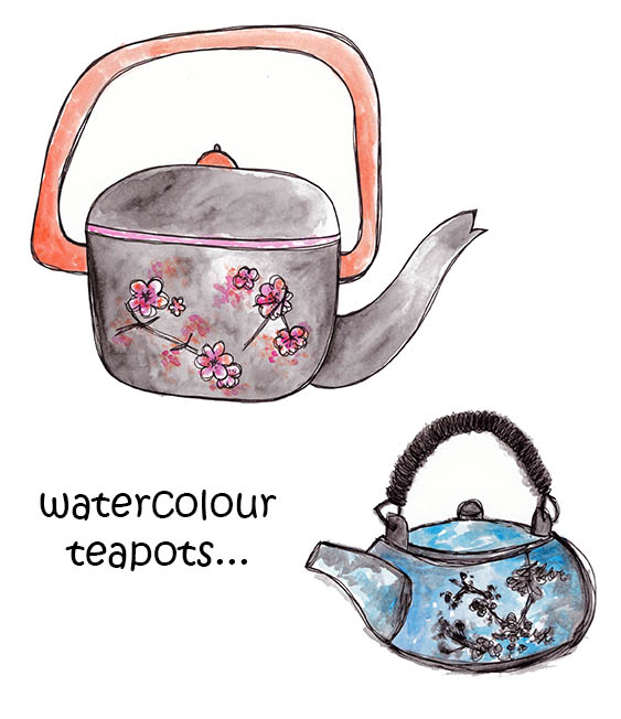 Japanese teapots watercolour, Rebecca Johnstone.jpg