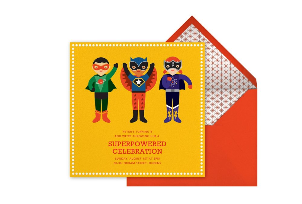 'Superhero Trio' Children's Party Invitation, Petit Collage