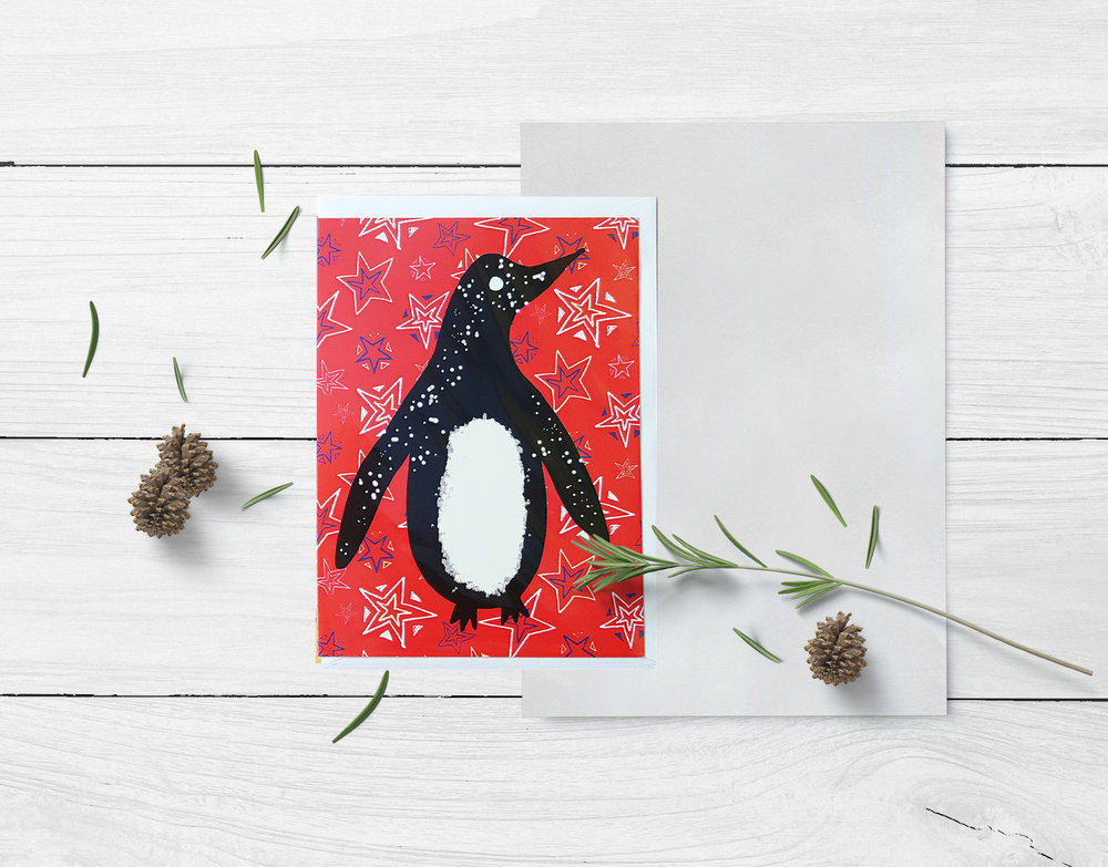 Penguin Christmas Card by Rebecca Johnstone/Dainty Dora