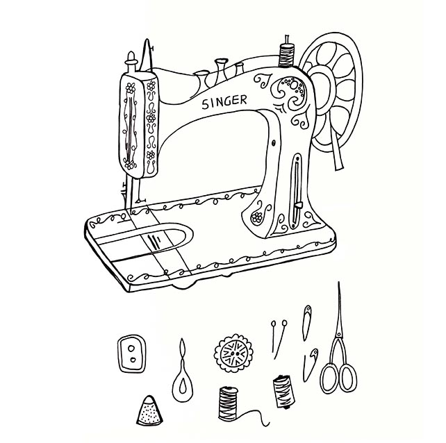 Sewing machine & supplies sketch, Rebecca Johnstone