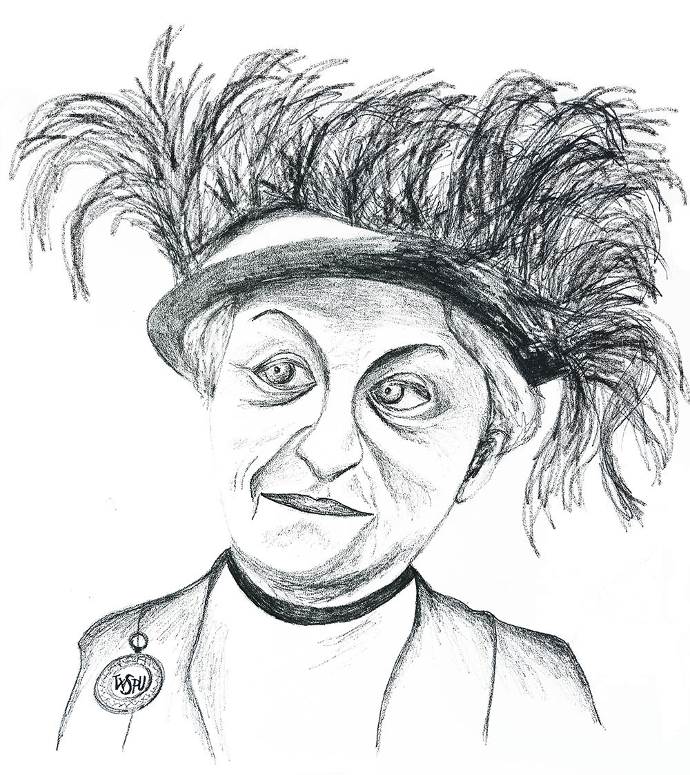 Carrie Chapman Catt portrait sketch, Rebecca Johnstone