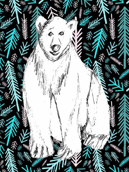 Polar Bear Forest Christmas Card design, Rebecca Johnstone
