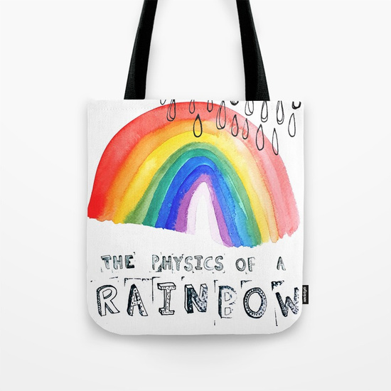 The Physics of a Rainbow Tote Bag by Rebecca Johnstone on Society6
