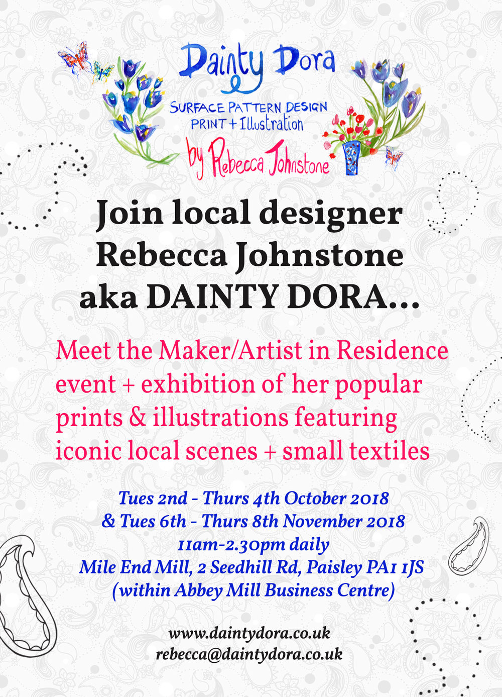 Mile End Mill artist in residence exhibition event, Rebecca Johnstone aka Dainty Dora