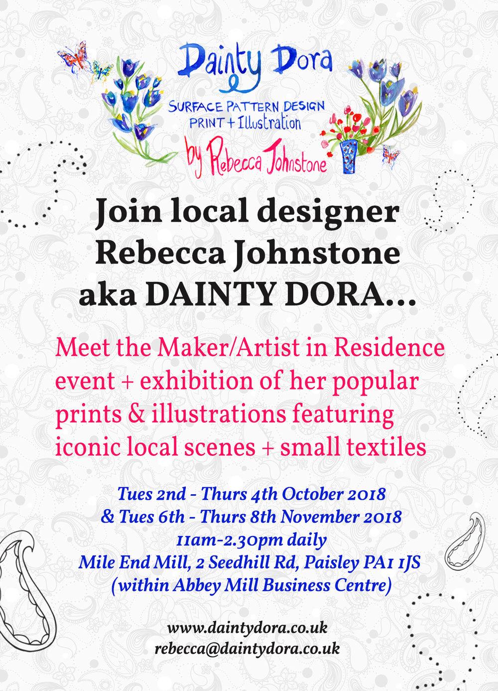 Mile End Mill artist in residence exhibition event, Rebecca Johnstone aka Dainty Dora