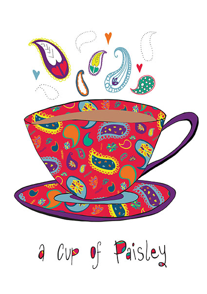 Cup of Paisley Print - Red - Rebecca Johnstone aka Dainty Dora