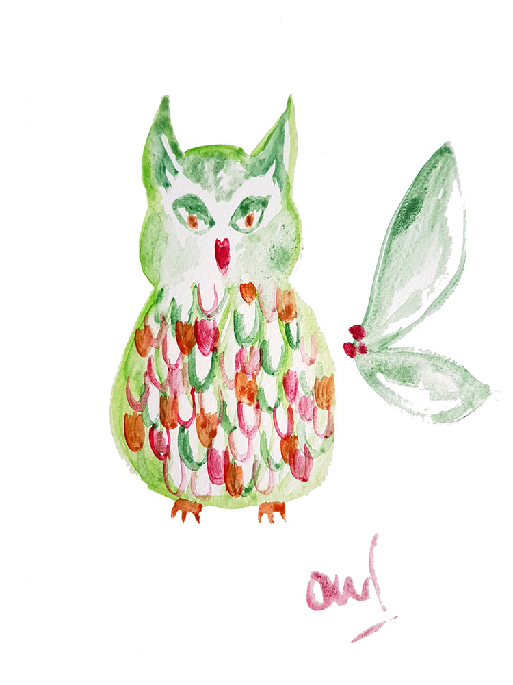 Festive owl, character illustration workshop @ Oliver Bonas, Glasgow