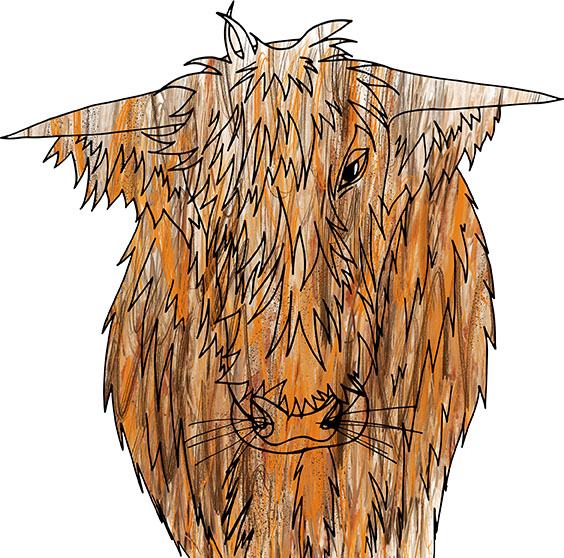 Highland Cow - textured, Rebecca Johnstone