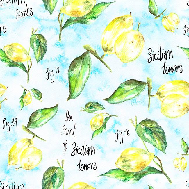Sicilian Lemons surface pattern design by Rebecca Johnstone