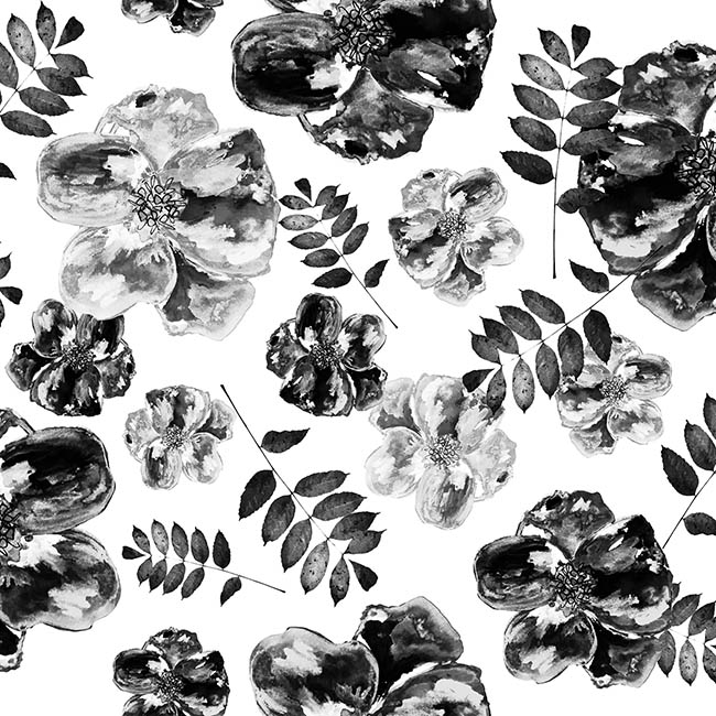 Poppy (Monochome) surface pattern design by Rebecca Johnstone