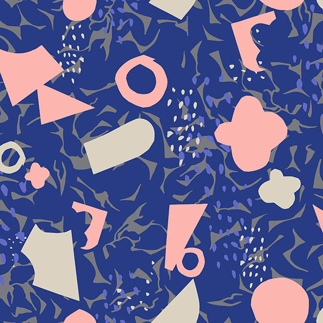 Artistic Expression Blue surface pattern design by Rebecca Johnstone