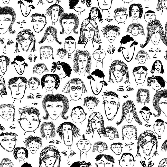 Face Gang (white) surface pattern design by Rebecca Johnstone