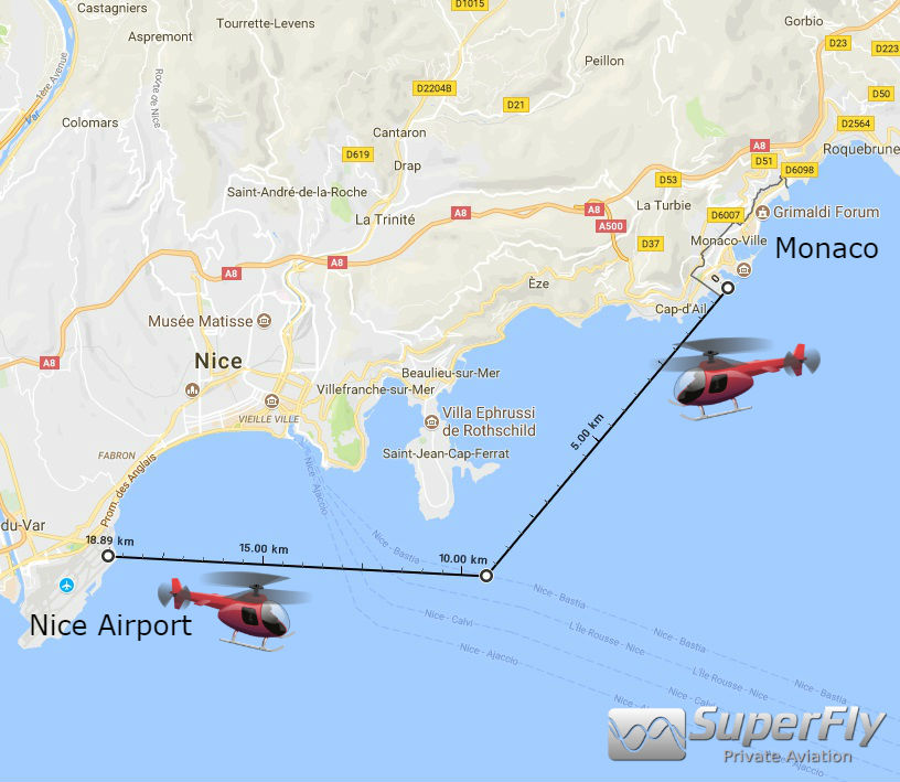 Click here to open Google Maps in a new tab  . The 7 min Helicopter flight path between Monaco and Nice reaches peak usage during the Monaco Yacht Show and Monaco Grand Prix
