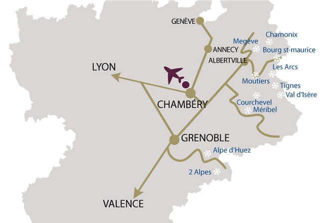 Map of Chambéry Savoie Airport in realtion to nearby Ski Resorts