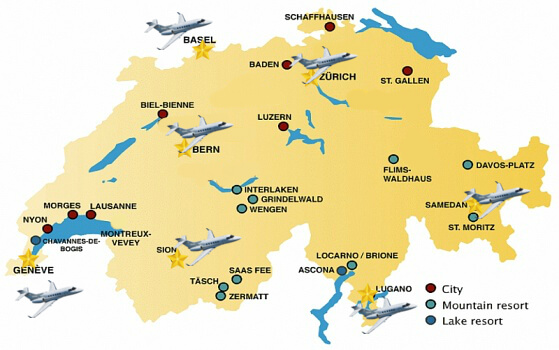 Map of Swiss private jet airports