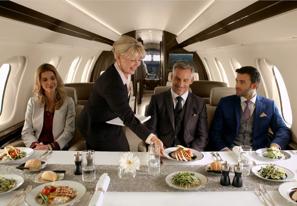 Dining area of the Global 7000