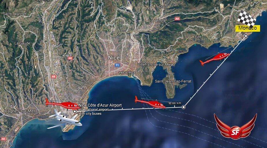Map showing the 7 minute helicopter route between Nice Airport and Monaco