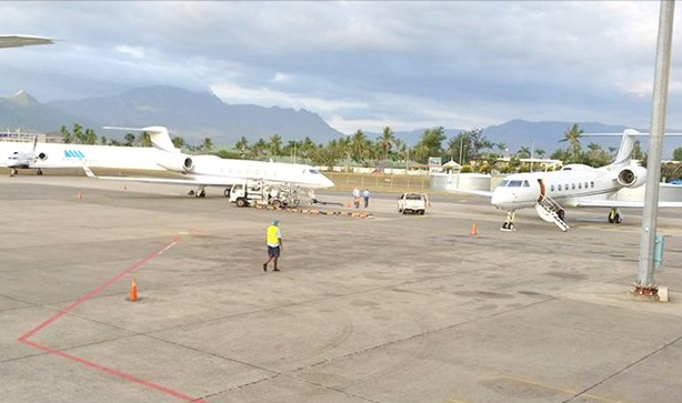 Private jets at Nadi International Airport in Fiji where guests are transferred to Kokomo by private sea plane or helicopter