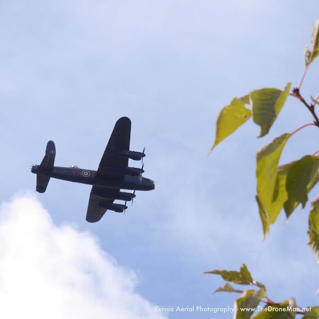 Amazing sight when a Lancaster Bomber flys overhead in its way to #Scampton17  #lancasterbomber