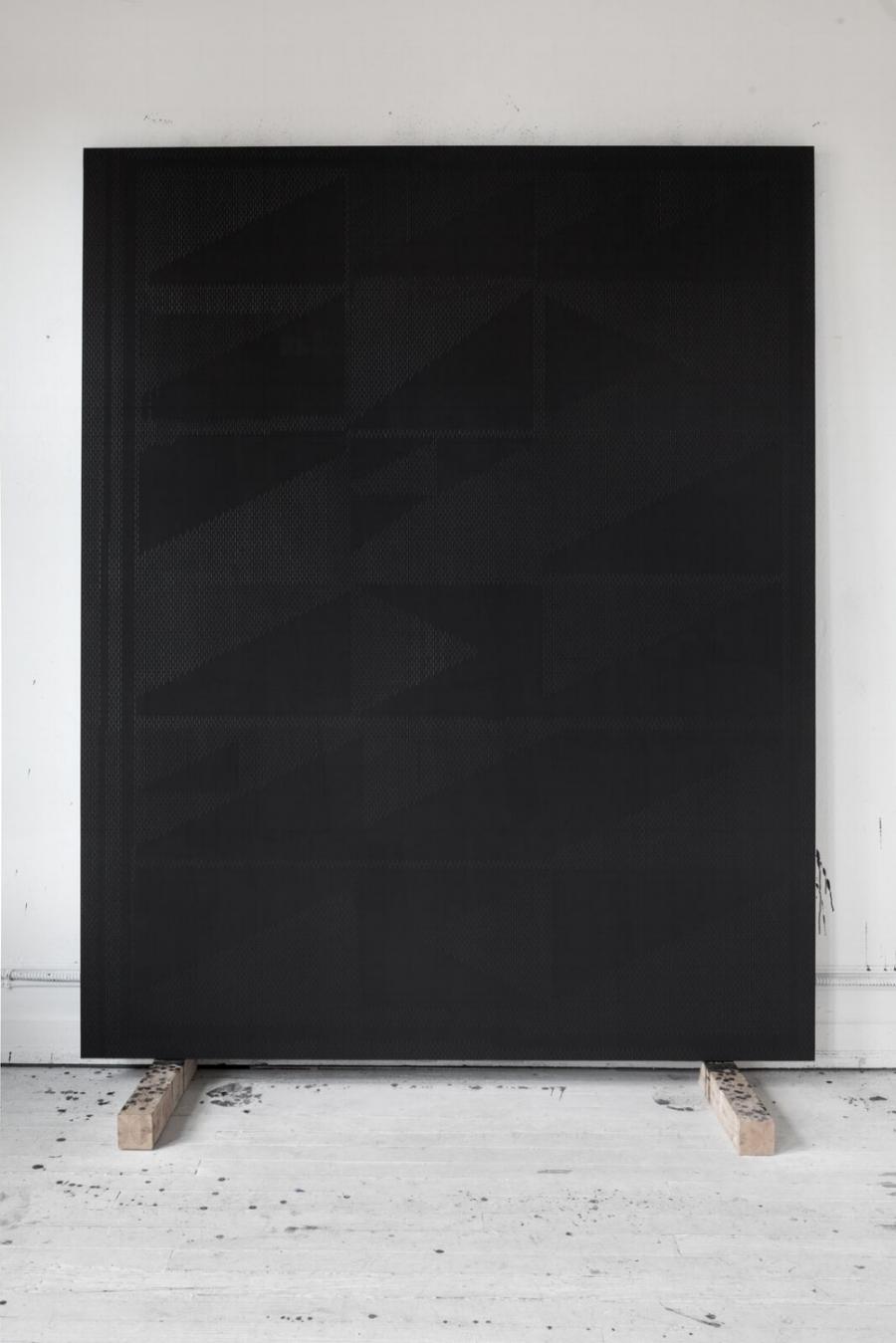 Tapeto for Nicole (The Boyfriend in Costa Rica), oil graphite paster on panel, 96 x 77 inches, 2016/2017