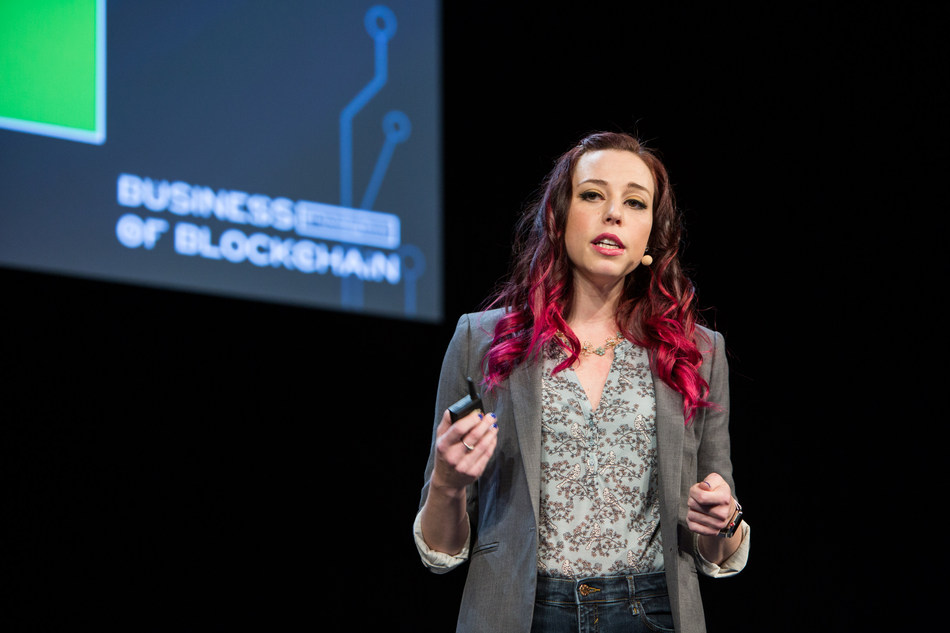 Credit: MIT Technology Review | Pictured: Amber Baldet, former JP Morgan Blockchain Lead, at the publication's Business of Blockchain event in 2018