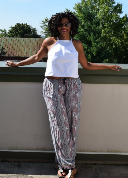 - The top is a wearable muslin from a self-drafted pattern. It is made from a ponte that I got at Joann Fabrics. The pants are paisley/stripe rayon from SewVagabondshop.com using a Butterick pattern I've had for 20 years (!!)