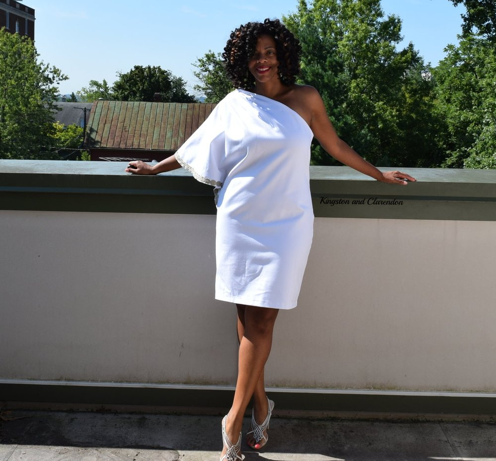 - This dress was truly a labor of love. It started as an 80 (yes, EIGHTY)page PDF pattern that I had to tape and glue together. I used the same ponte as the muslin above to make this. The trim is also from Joann fabric. It's very comfortable and easy to wear.