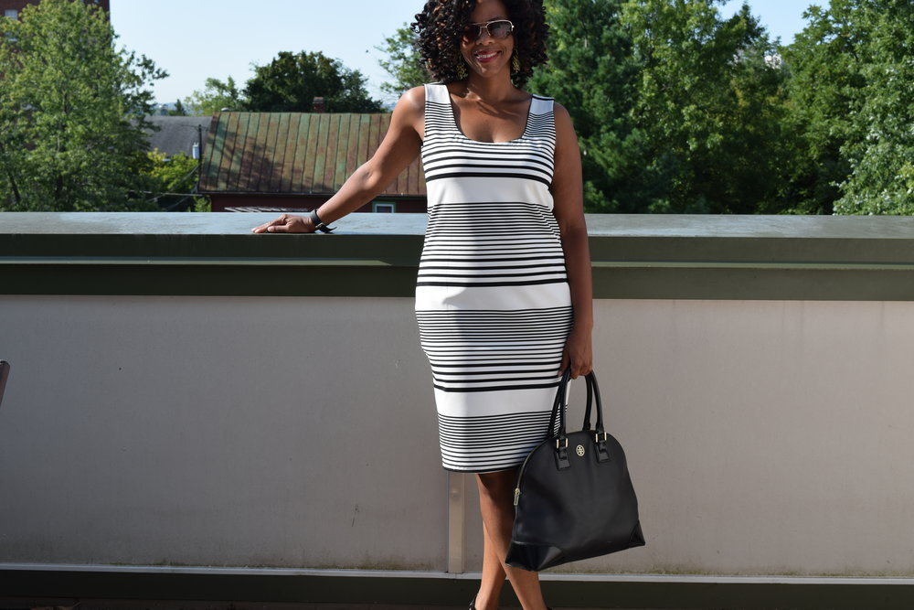 - This dress was made from a self-drafted pattern that I based on a dress that I got from Zara but ended up being too small. The fabric is from the Cape May collection from Joann Fabrics. The purse is from one of my design idols- Tory Burch.